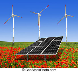 energy concept - solar energy panels and wind turbine on the...