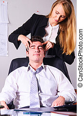 making head massage - young businesswoman is making head...