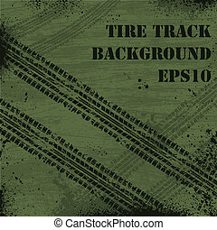 Military tire track background - Dark green background with...