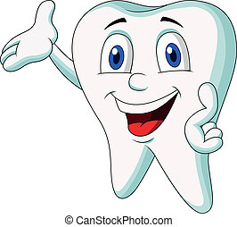 Cute tooth cartoon presenting - Vector illustration of Cute...