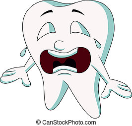 Cute tooth cartoon crying - Vector illustration of Cute...
