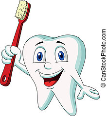 Cute tooth cartoon holding tooth br - Vector illustration of...
