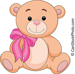 Cute brown bear stuff cartoon - Vector illustration of Cute...