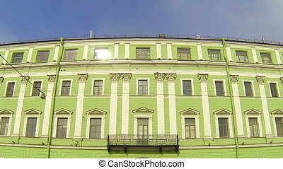 Facade of an old building in St. Petersburg. Millionnaya...