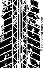 Tire track on white background