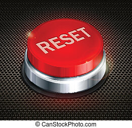 Button reset - Red button with words reset on black...