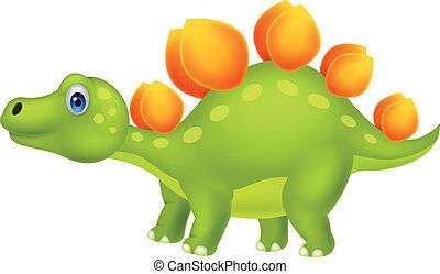 Cute stegosaurus cartoon - Vector illustration of Cute...