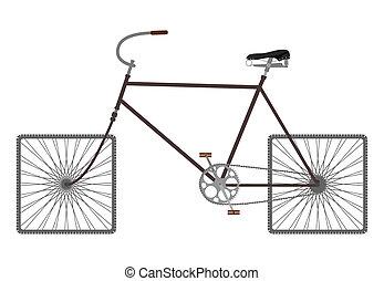 cuadrado, rueda, bicicleta