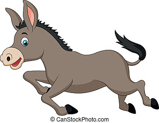 Cute donkey cartoon running - Vector illustration of Cute...