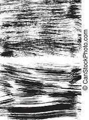 Grunge full - Set of two black grunge backgrounds on white