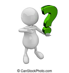 3D people with green question mark