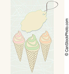 Ice cream cones with blank tag - Decorative illustration in...