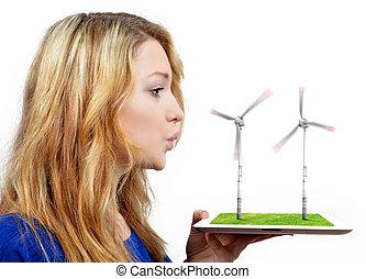 niña, Soplar, viento, turbinas