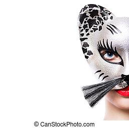 Beautiful young woman in cat mask - Beautiful girl in cat...