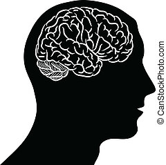 Brain in head - Black silhouette of man head with brain