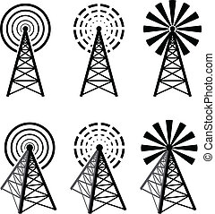 Radio tower - Set of different radio tower with waves