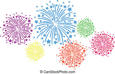 Firework color - Colorful firework on black background