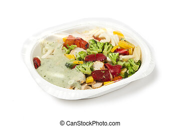 Fast Food - paper plate with prepackaged fast food with...