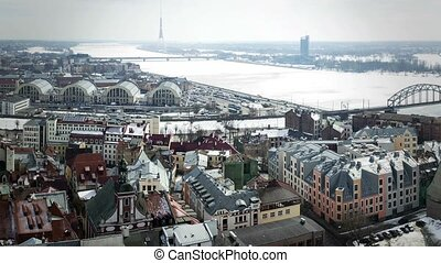 Riga, capital of Latvia. Video made from merged still...