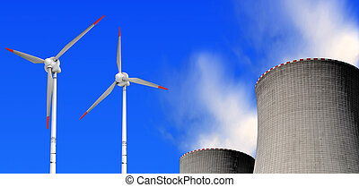 energy concept - nuclear power plant and wind turbines