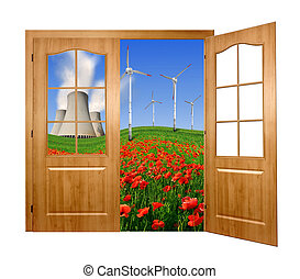 energy concept - Open the door to the spring landscape with...