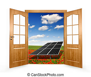 Open the door to the spring landscape with solar panel