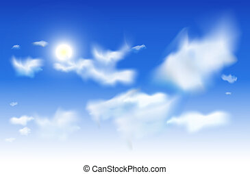 Vector sky background - White clouds and sun in a blue sky -...