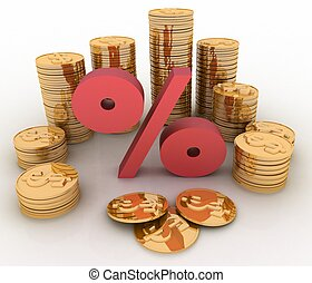 golden coins on percent. Conception of growth of income