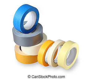 Seven coils colored adhesive tape on paper and...