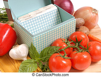 Recipe box with ingredients for spaghetti - Recipe box and...