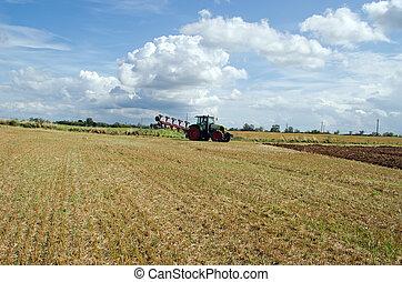 tractor, aparejar, arado, agrícola, cosecha, campo