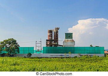 Abandoned factory in the field in Thailand