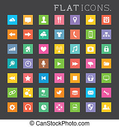 Modern Flat Icon Set - A large collection of modern flat...