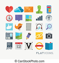 Colourful Icon Designs, modern styled vector set.