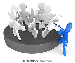 Membership. - Puzzle People joining new member. Blue.