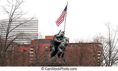 Iwo Jima Memorial Five - Iwo Jima Memorial with the city of...