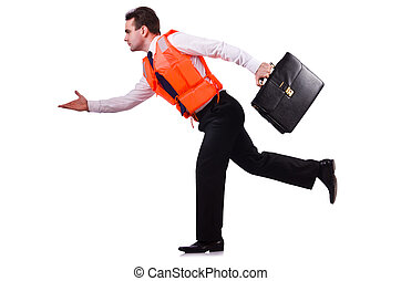 Businessman with rescue safety vest on white