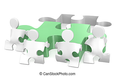 Teamwork - Puzzle People x4 helping out putting piece in...