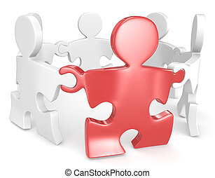Link. - Puzzle People x6 holding hands in circle. One Red.
