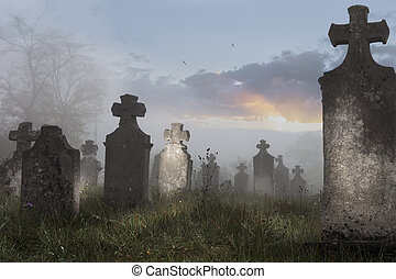 Cemetery - Old cemetery on a foggy morning,