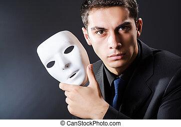 hombre, máscara, Oscuridad