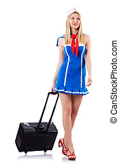 Airhostess with luggage on white