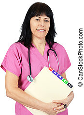Friendly doctor in pink - Friendly female doctor or nurse in...