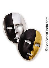 Shiny masks isolated on white background