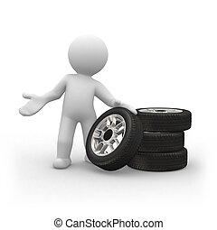 Tyres - 3d human show us four car tyres