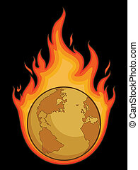 Burning Desolated Earth - A vector image of desolated earth...