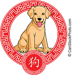 Chinese Zodiac Animal - Dog - A vector image of a chinese...