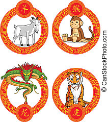 Chinese Zodiac Animal - Dragon, Goa - A vector set of...