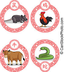 Chinese Zodiac Animal - Ox, Rat, Ro - A vector set of...