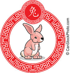 Chinese Zodiac Animal - Rabbit - A vector image of a chinese...